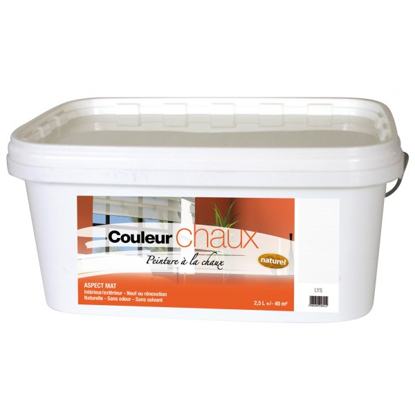 Peinture la chaux en seau de 2 5 l pour 25 m lavable et cologique for Peinture a la chaux